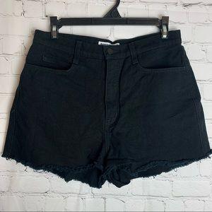 AMERICAN APPAREL High Waist Raw Hem Denim Shorts